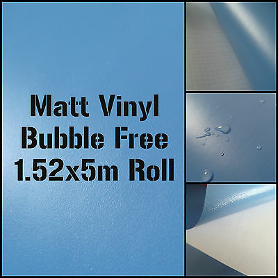 Matt Sky Blue 1.52M x 5M AIR/BUBBLE FREE Self Adhesive Vinyl Car Wrap Roll