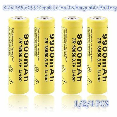 1/2/4 pcs 3.7V 18650 9900mah Li-ion Rechargeable Battery For Flashlight Torch AO