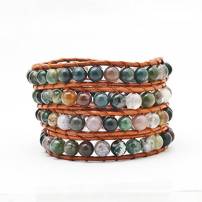 HANDMADE leather Agate Bracelet Wrap Beaded Bracelet Leather Wrap Bracelet