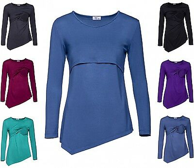 Happy Mama. Women's Maternity Nursing Asymmetric Layered Top Round Neck. 242p