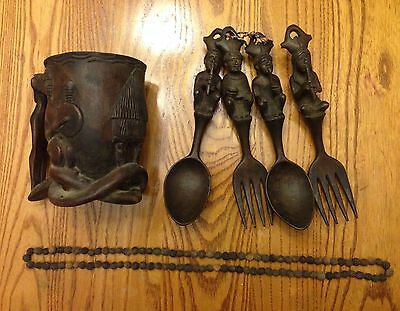 Primitive Hand Carved Wooden Cup Forks Spoons & Necklace Tribal Lot RARE