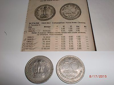 "- Republic Of  India - One Old  "" Fifty  Paise "" Coin - Rare - 1967 - Nickel"