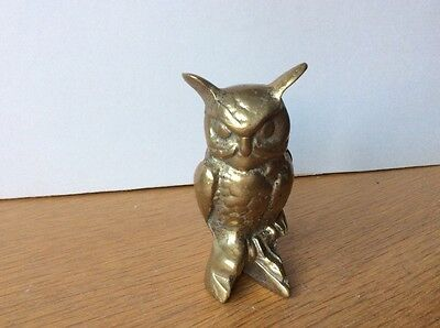 Vintage Solid  Brass  Owl, heavy, paperweight, collectible , bookend
