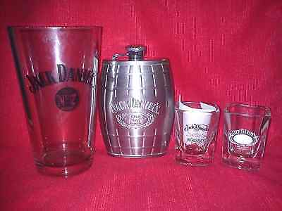 Jack Daniels Old No 7 Stainless Steel 6 oz. Flask + 2 Shot Glasses+ 1 Beer Glass
