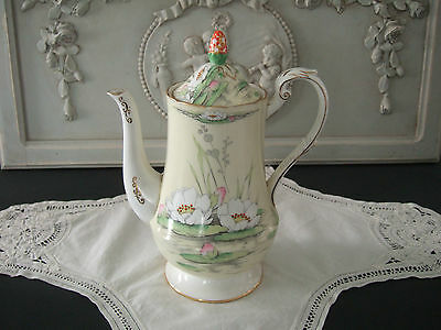 "Deco Royal Paragon ""Water Lilly"" Fine Bone China Coffee Pot.Rd 744170 Rare!"
