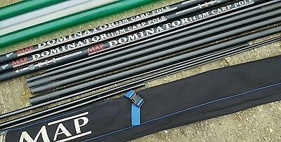 14.5 metre map dominator  fishing pole with 2 x top kits holdall and tubes