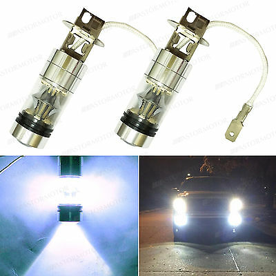 2x ASTORMOTOR H3 CREE Led Fog Driving Light Bulb Xenon White 100W w/ Quartz Tube