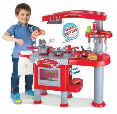 69Pc Red Childrens Kids Pretend Kitchen Play Set Cooking Cookery Toy Role Play