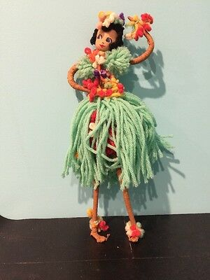 Handmade Hawaiian Princess Hula Doodle Doll Yarn Vintage Pipe Cleaner