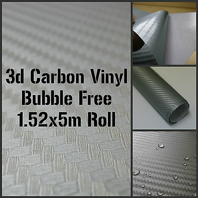 3D Textured Silver Carbon Fibre Vinyl 1.52 x 5m Roll - BUBBLE/AIR FREE Car Wrap