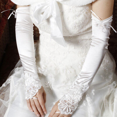 Ivory Satin Fingerless Opera Length Embroidery Bridal Party Gloves Style 007