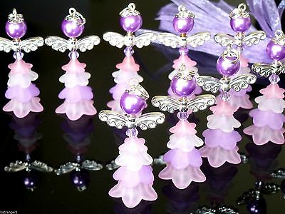 10 Lilac Fairies/Guardian-Angels,42mm ornament,Christening/Kids'Party bag filler
