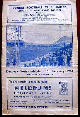 Dundee v Forfar Athletic 1963/64 Scottish Cup R3. programme.
