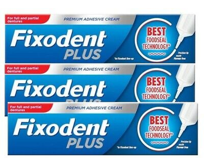 Fixodent Plus Food Seal Denture Adhesive Cream 40g With Precision Nozzle Pack 3