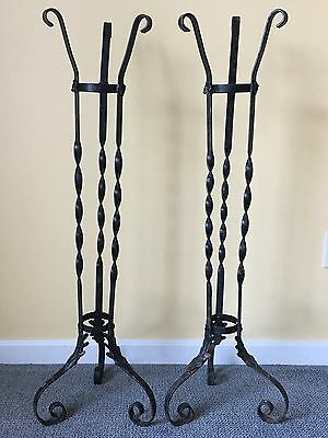 Set Of 2 Vintage Large Wrought Iron  Plant Stands