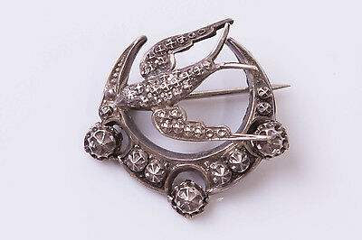 Antique Victorian Sterling Silver Highly Decorative Swallow Brooch