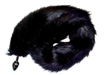 85cm Jet Black Faux Fur Cat Tail with Gold or Silver Metal Plug (Free Collar)