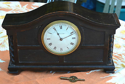 Vintage/antique attractive ebonised-oak Mappin & Webb mantle clock+key /g.w.o.