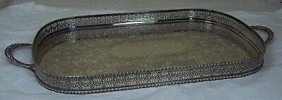 Quality Large Silver Plated Tray Pierced Gallery Viners Sheffield 2 Handles