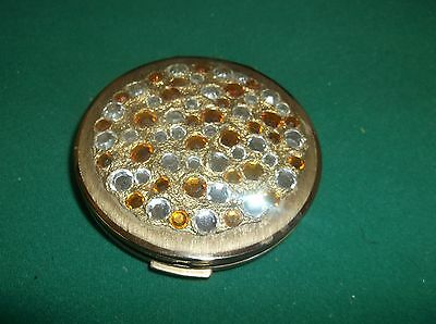 VINTAGE STRATTON COMPACT WITH 'IN HAND' LOGO AND JEWELS  1940s 1950s ???