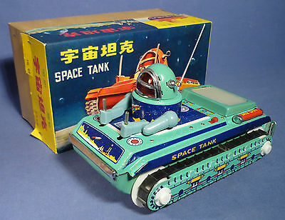 China Blech ME 091 Space Tank OVP Panzer 60er Jahre vintage tin toy boxed A168