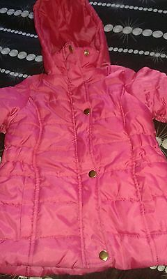 Girls Coat Pink With Hood Age 3-4 Years Winter Cute