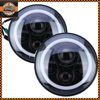 """Pair 7"""" LED Halo Headlights Headlamps 40W High / Low Beam For JEEP WRANGLER"""