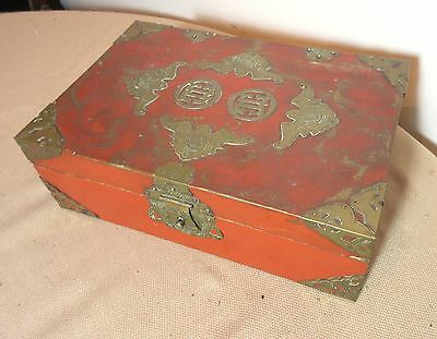 antique ornate Japanese lacquered wood bronze figural bat box brass lacquer
