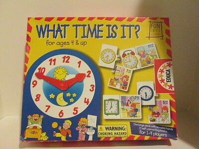 WHAT TIME IS IT? Educational GAME-learning time,1-4 players-4 &up RARE GAME