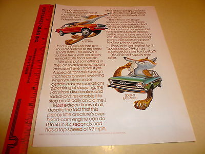 Audi Fox Blue and Red Ad Advertisement - Vintage
