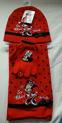 Minnie Mouse Hat Scarf Glove set 4-8 years