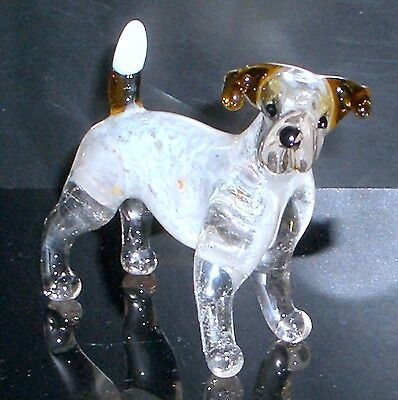 "Hand Blown ""murano"" Glass Collectable Jack Russell Terrier  Dog  Figurine"