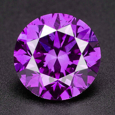 CERTIFIED .073 cts. Round Cut Vivid Purple Color Loose Real/Natural Diamond 3D
