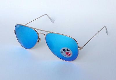 NEW AVIATOR RAY BAN RB3025 112/4L POLARIZED GOLD-MATTE /BLUE LENS SUNGLASSES58mm