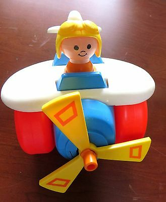 Fisher Price - Pull Along Plane, # 171, Vintage, 1981 - 1989