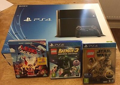 BRAND NEW SEALED SONY PLAYSTATION 4 500Gb +  NEW LEGO MOVIE + 2 NEW GAMES PS4