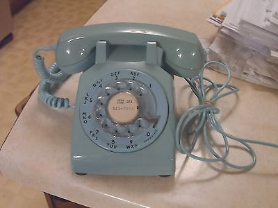 Vintage TURQUOISE ROTARY TELEPHONE working, matching parts VGC