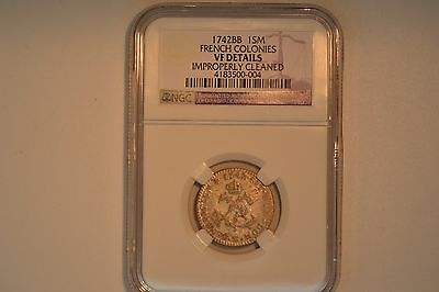 1742-BB SOU M French Colonies Sou Marque -- NGC VF Details. Cleaned.