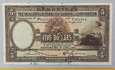 1941 Hong Kong HSBC $5.00 BIG Notes, S/N: P069910