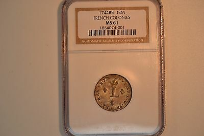 1744-BB SOU M French Colonies Sou Marque MS61 NGC.   RARE!