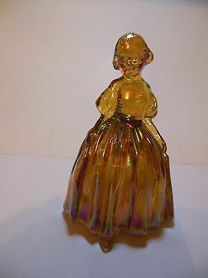 """Lovely Wheaton Carnival Glass Colonial Lady,  4 3/4 """" Amber Iridescent"""