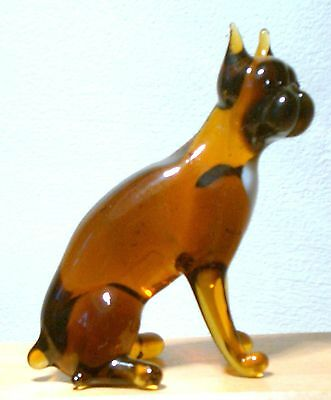"""Hand Blown """"murano"""" Glass Collectable Sitting Boxer  Dog Figurine"""
