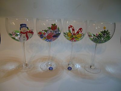 Block Basics -Whimsy Christmas -Set of 4-Wine Glasses Goblets Hand Painted-Boxed