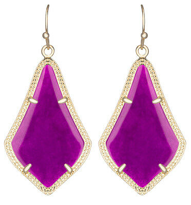 Kendra Scott Alex Dangle Earrings in Purple Jade & Gold Plated