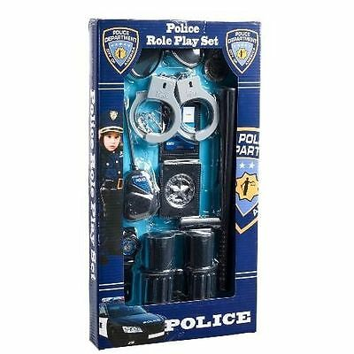 Police Officer Badge Security Guard Equipment Handcuffs Kids Role Play Toys NEW