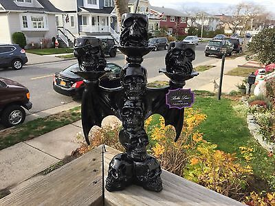 "Very cool Bella Lux 12"" tall skull bat candle holder goth Halloween"