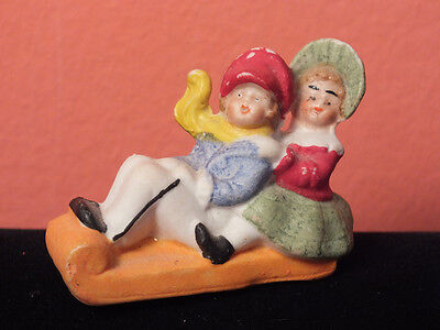 Vintage SNOW SLED Christmas Figurine EXCELLENT Bisque Germany Boy Girl Sleigh