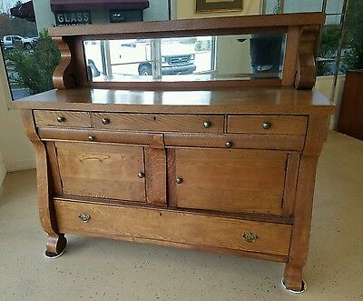 Oak Antique Empire Sideboard, Server or Buffet, Mirror Gallery