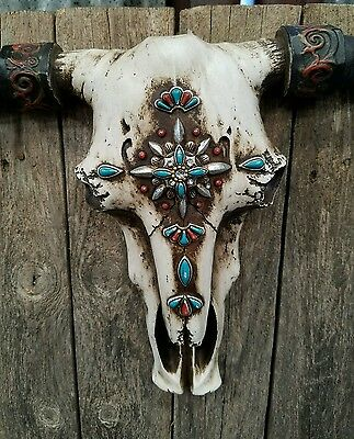 """Rustic Western resin cow skull w turquoise  jewels aztec  21"""" × 13"""" home decor"""
