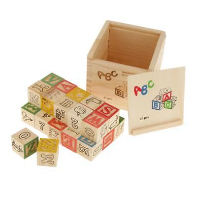 Classic Wooden ABC Block Toy with Box for Kids Pack of 27 Pcs Kid Gift
